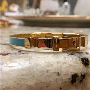 Michael Kors Teal Gold Buckle Bangle